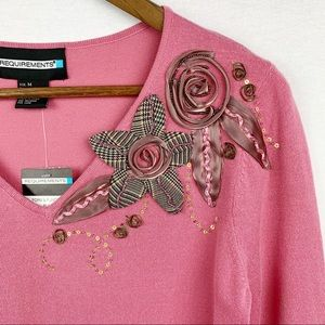 Requirements NWT Pink Sweater w/ Embellishments -M